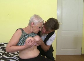 Horny big breasted granny doing her way younger..