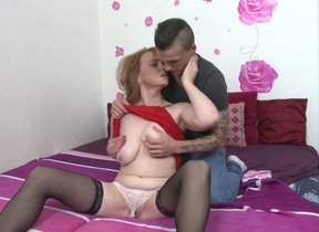 Naughty shaved housewife fucking the guy make..
