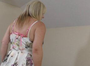 Chubby British housewife carrying-on relating to..