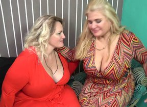 Two naughty big breasted mature gentlefolk..