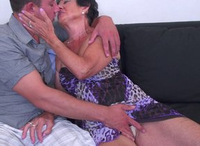 Horny granny having pastime with her toy crony