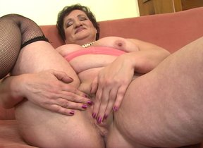 Obese Full-grown lady fingering chiefly the couch