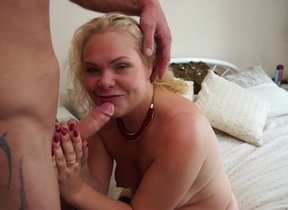 Naughty British housewife sucking and riding a..