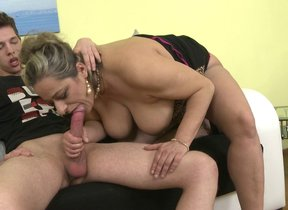 Naughty mature lady making out and sucking her..