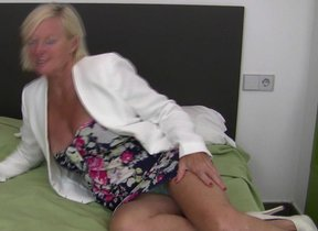 This horny blonde housewife plays on say no to bed