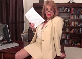 Clothed granny, yon sexy glasses, naughty teaser