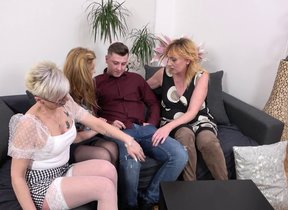 Three horny mature ladies share their toyboy's..